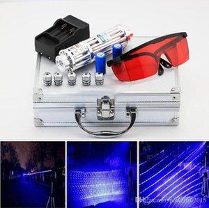 Mais Poderoso Laser Tocha 450nm 500000m Focusable Blue Laser Pen ponteiros Lanterna Laser Com Carregador Óculos Estrela Caps Metal Box