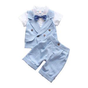 Kleinkind Baby Jungen Anzug Set Für Hochzeit Kleid Kinder Plaid Fliege Hemd Weste + Shorts Kleidung Set Gentleman Jungen Baby Anzug Y190518