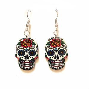 Серебряные Крючки Хэллоуин Сахарные черепа серьга Праздновать мексиканского День Симпатичного Хэллоуина сережки Dead Halloween Акриловых черепов