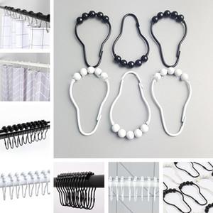 Einbrennlack schwarz und weiß Edelstahl Badegardinenhaken fünf Ball Ball Vorhang Ring Duschvorhang Ringe Badezimmer Clip I508