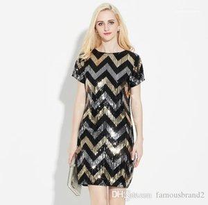Parti Elbise Payetler Mürettebat Yaka Kısa Kollu Kadın Giyim Gece Kulübü Stil Gündelik Giyim Bayan Yaz Designer yazdır