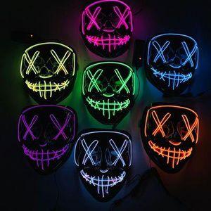 Halloween Máscara Máscaras LED Light Up engraçados O Cosplay Grande Festival Purge Eleições Ano Fontes do partido Máscaras EEA470
