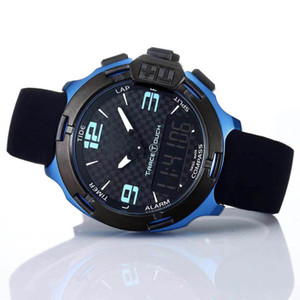 T는 레이스 터치 T081 화면 고도계 나침반 크로노 그래프 쿼츠 블랙 러버 스트랩 배포 클램프 블루 망 시계 손목 시계 남자 시계