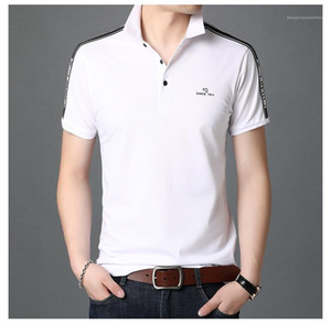 Patchwork Tees Sommer-Breathable Casual T-Shirt Herren Basic Top-Kleidung-Sommer Mens Solid Color Polo-Revers-Neck Brief gedruckt