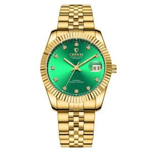 Chenxi Marca mecânico automático relógio de pulso masculino ouro Waterproof moldura de discagem analógica Rosto 001 aço inoxidável Strap Buckle por Homens