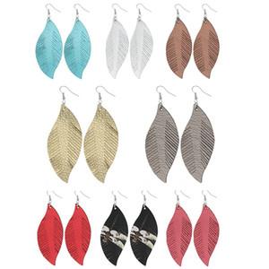 Böhmische Troddel-Tropfen-Ohrringe arbeiten Frauen Feder Form Charme Anhänger baumeln PU-Leder-Ohrring-Dame Jewelry TTA1958-4