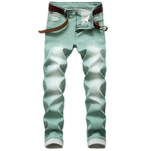 Pants Casual All Season Mens Jeans Plus Size Mens Slim Denim Pants Green Zipper Washed Pencil