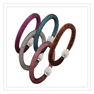 Charm Bracelets New Colorful Fashion Charm Bracelets Magnetic Bracelets Crystal Beads Bracelet Mesh Clasp Infinity Bangles Jewelry