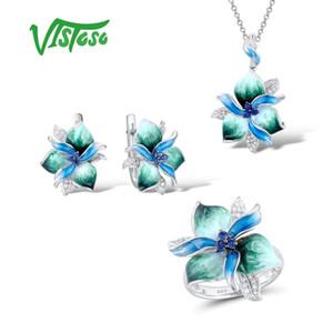 Kadın 925 Gümüş Şık Mavi Yeşil Çiçek Küpe kolye Yüzük Güzel Takı El yapımı Emaye CJ191205 için Vistoso Takı Setleri