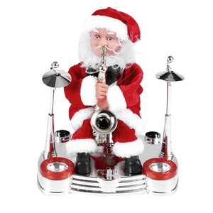 Electric Music Santa Claus Doll Ornament Playing Saxophone Ornament New Year Kids Christmas Gift