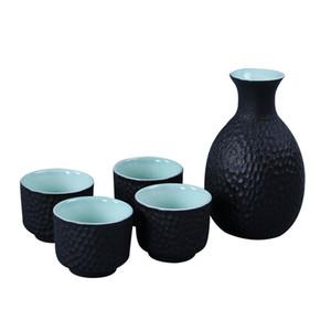 Antike Wein Set Blumenvase Kunst Wein Topf 4 Tassen Japanischen Sake Set Weiß Schwarz Farbe Keramik Glasur Saka Decanter Home Bar