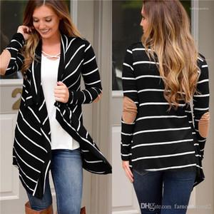 Rayas con paneles de moda sueltas irregulares Womens Cardigan chaquetas casuales Outerwears diseño largo de la manga Las mujeres Ropa para mujer