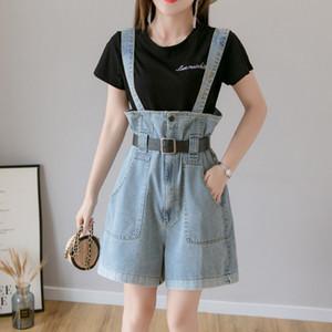 Zoki Frauen-Jeans-Mode Sommer Denim Overalls Shorts koreanische Plus Size Causal-Träger Ärmel Blau High Waist Damen Shorts