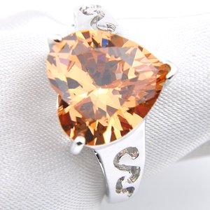 Luckyshine 6 Pz / lotto Moda Romantica a forma di cuore Gemme di Morganite Anelli in argento 925 per donne Anello di nozze Nuovo