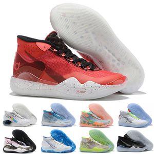 Yeni Erkek Brooklyn Nets KD12 XII Teyzem ŞEFTALİ JAM Basketbol Ayakkabı Mavi Gri Kevin Durant 12s ABD KD 12 EYBL Mavi Gaze Sneakers