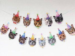 100Set Cat Pet Party Flag Paperboard Party Decoration Cat Decor Banner Bunting Garland Banner Pet Birthday Flag Hanging Decor