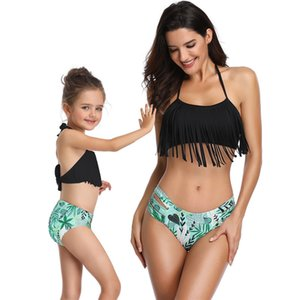Atractiva de las mujeres del traje de baño traje de baño de padres e hijos borlas Sexy Bikini Piscina conjuntos de juego del partido de la playa del verano El traje de 2 piezas