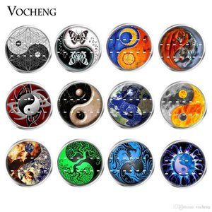 NOOSA Ginger Snap Charms Glass Button Interchangeable Jewelry 18mm Mixed 20pcs lot Wholesale VOCHENG Vn-1819
