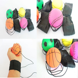 63mm Jogando Bouncy Ball Banda De Pulso De Borracha Saltando Bolas Crianças Reação Elástica Treinamento Antistress Bolas ferramenta de ensino escola dc411