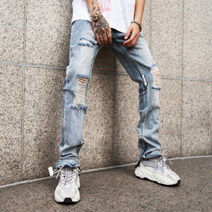 EWQ   Men's Pants 2020 Spring Fashion New Trouers High Street Self-cultivation Zipper Knee Holes Jeans For Male Tide 19H-a187