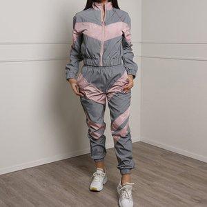 2020 Hot Sale Women Tracksuit 2 Piece Set Reflective Sports Casual Suit Windbreaker Fashion Female Loose Glow Jacket + Pants Sets