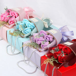 Birthday Valentine's Mother's Day Wedding Anniversary gift box rose soap flower gift bag dry Artificial flower bouquet for gifts