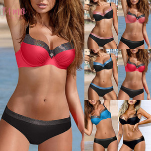 Sexy Women Solid Tankini Padded Push Up Bra Bikini Set Swimsuit Bathing Suit Swimwear Beachwear Bikini 2020 Mujer