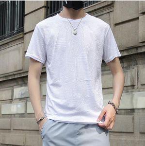 Mens sólido venas diseñador camisetas del hombre del verano del O-cuello de manga corta de seda del hielo camisetas Nueva moda de los hombres respirables Tops