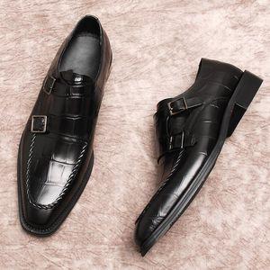 Vino rojo Negro Hecho a mano Goodyear Oxfords Estilo británico Monk Correa Zapatos de vestir formales Tacón plano Zapatos para hombre