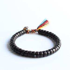 Fils de coton tressé à la main bouddhiste tibétain Bracelet noeuds chanceux Bracelet perles de coquille de noix de coco naturelles sculptées Om Mani Padme Hum Bracelet J190719