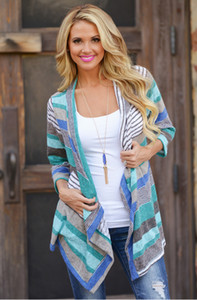 Women Long Sleeve Cardigan foreign trade new striped asymmetric puls size Spring Summer T-shirt women's jacket S-XL