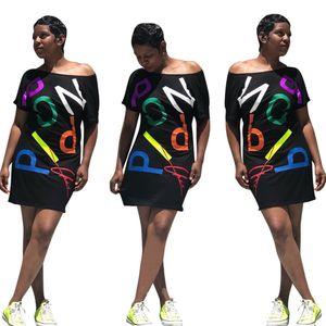 Casual Womens Summer Dress Letter Printed Short Sleeve T Shirt Dress Fashion Scoop Collar Tee Dress Above Knee Length T Shirt