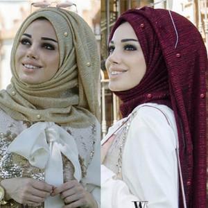 Frauen Shimmer Hijabs Faux-Perlen-wulstiger Crinkle-Schal moslemische islamische Turban Glitter Solid Color Schal Kopfbedeckung Wrap
