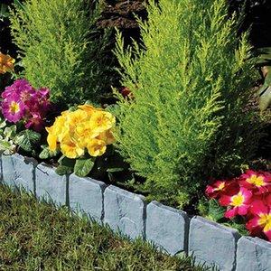 10pcs flor Cerca-Path Jardim das Plantas Border afiação Lawn imitação Stone Fence Aterramento Cerca Folding Paisagem Laranja cinzenta