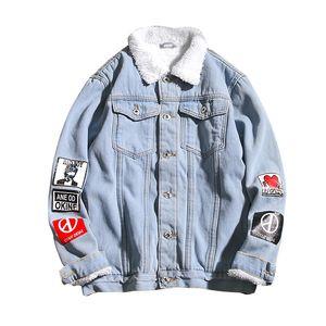 Giacca da uomo Cappotto Trendy Warm Fleece Thick Denim Jacket 2019 New Winter Fashion Mens Jean Outwear Cowboy maschile Plus Size 5XL