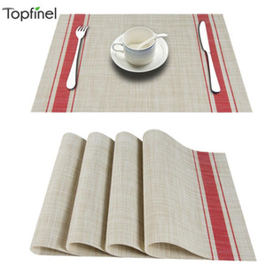 Topfinle PVC Bamboo Plastic Placemats for Dining table mat set Linens place mat in Kitchen Tableware Pad Coffee Tea Place Mat T200702