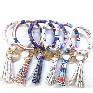 Christmas Theme PU Bracelet Keychain Happy New Year Style Bold Bangles Colorful Tassels O Keychains Kids Gift M009