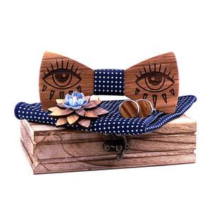 Linbaiway Handmade Wood Bow Ties for Mens Suit Wooden Bowties+Handkerchief+Brooch+Cufflinks Set Male Wedding Neckties Corbatas