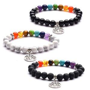 3 Designs banhado a prata real Vida Alloy Charme Árvore pulseira de 8 milímetros Preto lava pedra branca Ágata Beads pulseiras