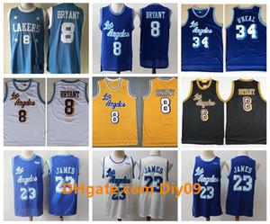 Retro Men LeBron 23 James Blue Golden WhiteLosAngelesLakers Jersey8 BryantShaquille O Neal Jerry Basketball Jerseys