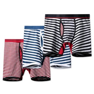 2020 New Men's Striped Underwear Fashion Active Long Boxer Brief Breathable Underwears Mens Comfortable Underpants 8 Colors Size M-3XL