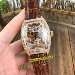 Alta versionm COLEÇÃO dos homens Edição 8880 B S6 SQT D MVT D Skeleton Dial pulseira de couro Assista Homens automáticas anel de ouro rosa O caso de