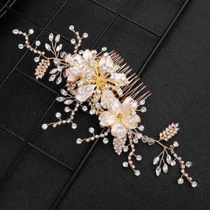 Pins Crystal Flower FORSEVEN oro lucido pettine capelli Handmade Jewelry nuziale Clip Accessori matrimoniali JL