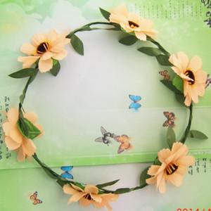 1lot = 6pcs Frauen-Haar-Band-böhmische Art-Kronen-Hochzeit Girlande Stirn Blumen-Stirnband Strand-Kranz-Blumen-Haar-Accessoires