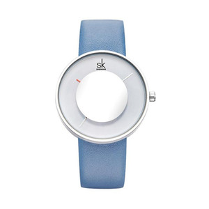 Fashion Women Watches Ladies Creative Mirror Glass Leather Strap Waterproof Quartz-Watches High Quality Analog Dial Face Leather Strap