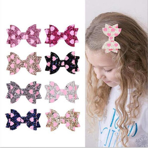 Beafin Girls Heafic Clips створки сердца дизайн блеск луки 3 дюймовый бантики барьерные шпильки ребёнок мода аксессуары для волос вечеринка осторожный C872