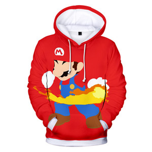 Mens Winter Designer Sweatshirt Mario Red 3D Print Front Pocket Hoodies Halloween Party Custom Clothes Free Shipping