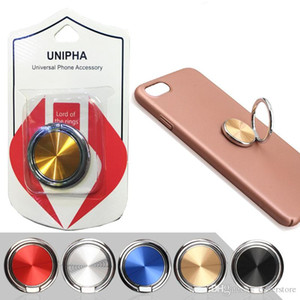 For iPhone Samsung HuaWei Universal Cell Phone Holder Metal CD Spin 360 Degree Finger Holder Grip Stand with Retail bag Phone Back Holder
