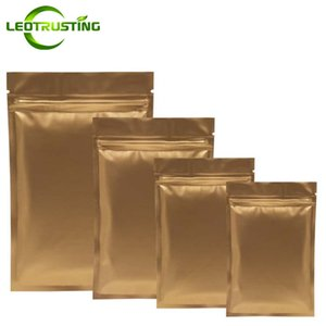 Leotrusting 1000pcs / lot Matt Gold fond plat en aluminium Ziplock Bag Rescellable or thermoscellage fermeture éclair pochette sac impression personnalisée