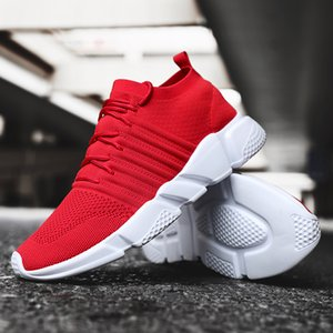 Men Plus Size Running Shoes Breathable Flexible Sneakers Male Knit Upper Sport Shoes Sock Boots Chunky Footwear High Top